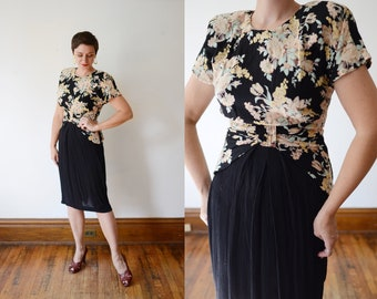 1980s Floral Rayon Dress - S/M
