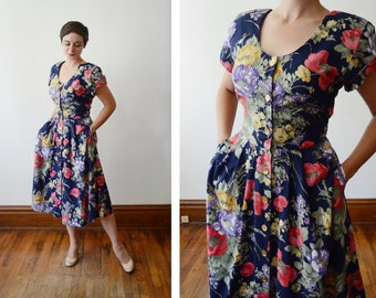 1980s Dark Blue Floral Dress - M