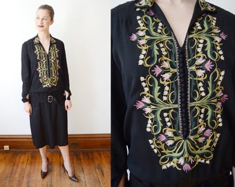 1920s Black Embroidered Dress - XS