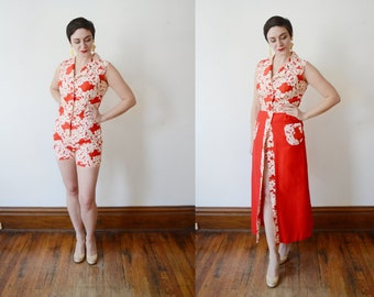 1960s Hawaiian Romper and Matching Skirt - S/M