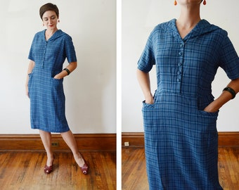 1950s Blue Plaid Dress - L