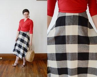 1970s Black and White Checkered Skirt - S