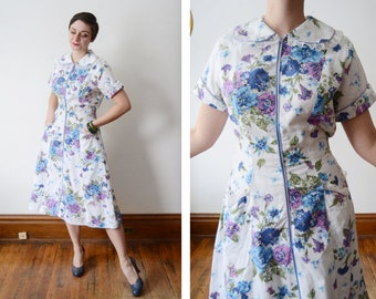 1950s White Cotton Floral Front Zip Dress - M/L
