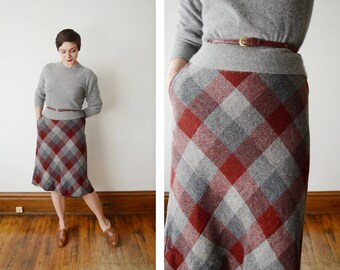 1970s Grey and Maroon Skirt - S