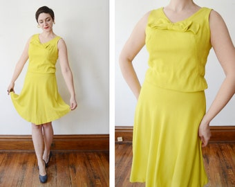 1960s Chartreuse Yellow Dress - S/M