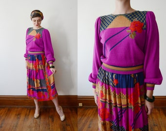 1980s Sweater and Silk Skirt Set - L