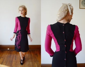 1940s Fuchsia and Black Colorblock Dress - XS