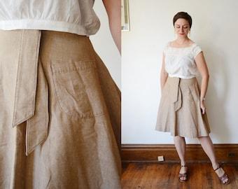 1970s Tan Wrap Skirt - S/M