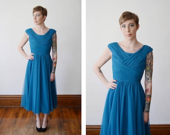 1950s Teal Handmade Gathered Party Dress  - S