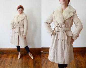 1970s Tweed Beige Coat with Fur Collar - M