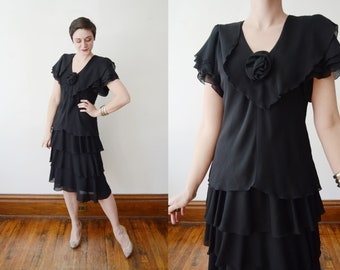 1980s Black Chiffon Party Dress - S