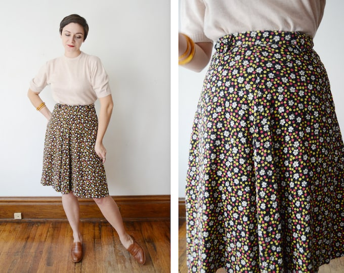 1960s Floral Corduroy Skirt - S