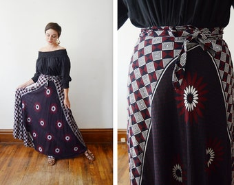 1980s/1970s Cotton Maxi Wrap Skirt - M/L