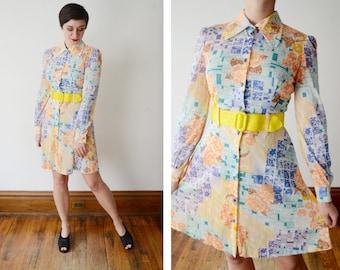 1970s Nylon Jersey Rose Print Mini Dress - S