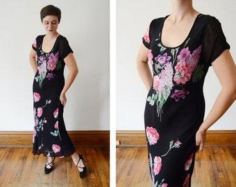 1990s Black Floral Bias Cut Dress - S