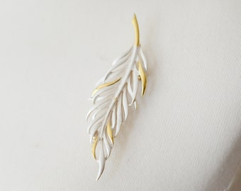 80s Gold and White Feather Brooch