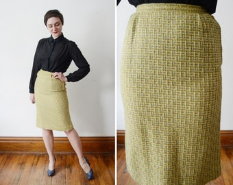 1950s Chartreuse Wool Tweed Skirt - S