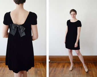 1960s Black Babydoll Velvet Dress - S