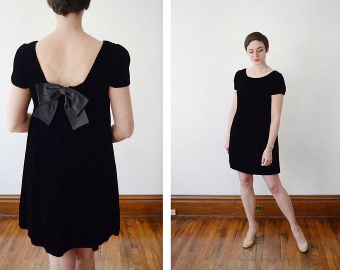 1960s Black Babydoll Velvet Dress - S