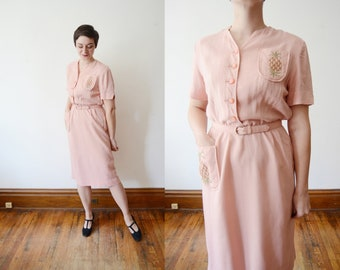 1940s Pink Pineapple Dress - M/L