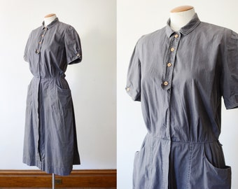 1950s Grey Cotton Work Dress - M/L