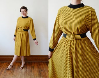 1980s Yellow Striped Jersey Dress - M/L