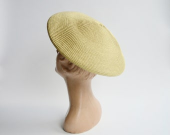 1980s Gold Straw Beret Hat