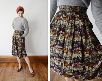 1980s Jones New York Novelty Rayon Skirt - M