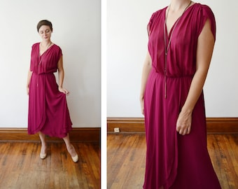 1970s Sheer Maroon Wrap Dress - L