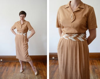 1940s/Early 50s Brown Dress with Striped Belt - M