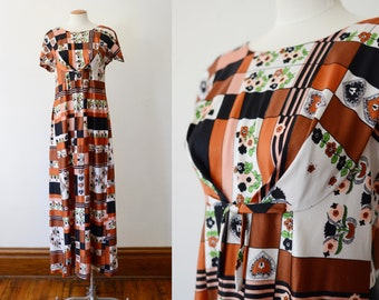 1970s Brown Floral Maxi Dress - S
