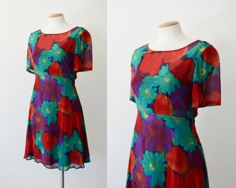 1990s Red and Purple Floral Dress - S