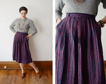 1970s Pink and Grey Striped Skirt - M