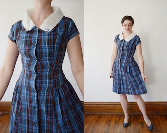1950s Blue Plaid Summer Dress - S/M