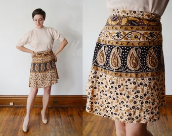 1970s Block Print Wrap Skirt - XS/S
