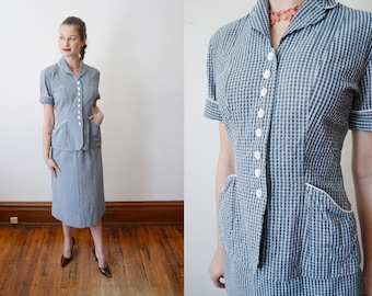1940s Plaid Seer Sucker Suit - XS