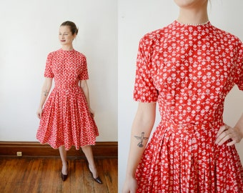 1950s Red Lanz Dress - S