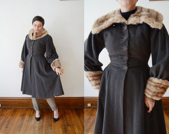 1940s Grey Princess Coat - S