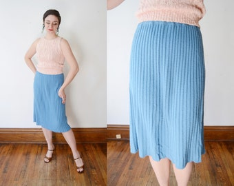 1950s/1960s Blue Knit Skirt - S/M