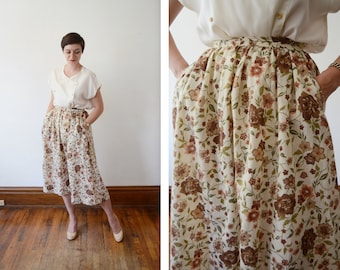 1970s Floral Skirt - S/M