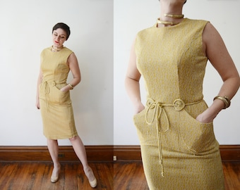 1960s Metallic Jersey Cocktail Dress - M