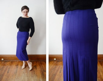 1980s Purple Pleated Wool Pencil Skirt - S