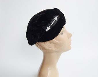 1930s Black Velvet Turban Hat