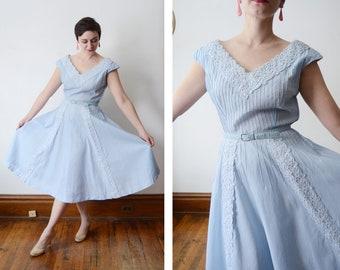 1950s Blue Cotton Dress - M/L