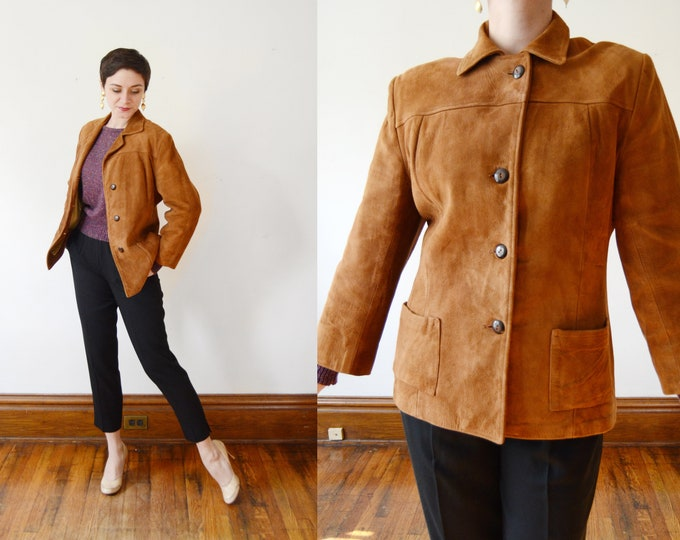 50s/60s Brown Leather Jacket - M