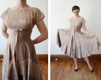 1950s Lace Party Dress - M