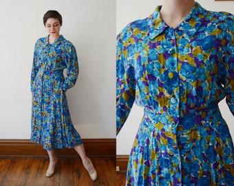 1980s Rayon Floral Dress - M