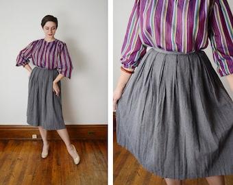 1950s Grey Pleated Skirt - S
