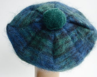 1970s/80s Mohair Plaid Beret