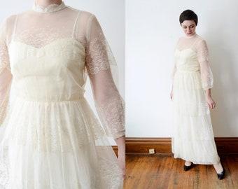 1970s Cream Lace Dress - M